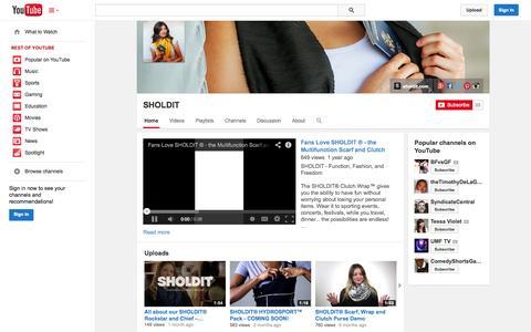 Screenshot of YouTube Page youtube.com - SHOLDIT  - YouTube - captured Oct. 23, 2014
