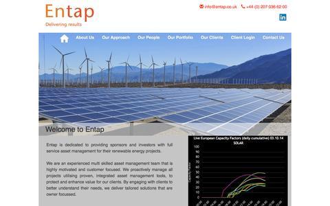 Screenshot of Home Page entap.co.uk - ENTAP - captured Oct. 3, 2014
