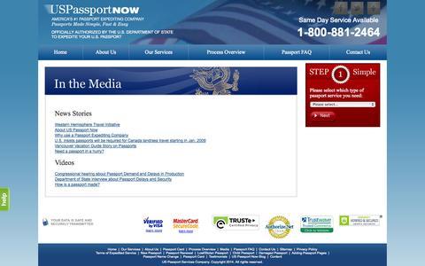 Screenshot of Press Page uspassportnow.com - Media - captured Sept. 23, 2014