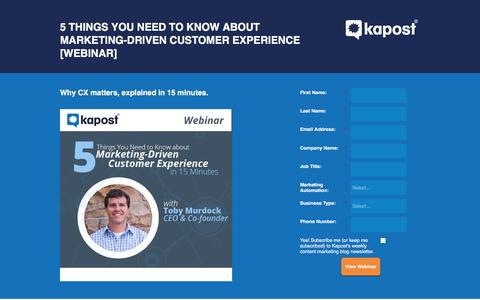 Screenshot of Landing Page kapost.com - Marketing-Driven Customer Experience Webinar - captured March 14, 2016