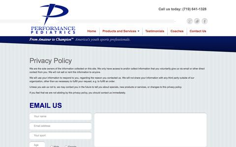 Screenshot of Privacy Page performance-pediatrics.com - Privacy Policy | Performance Pediatrics - captured Oct. 2, 2014