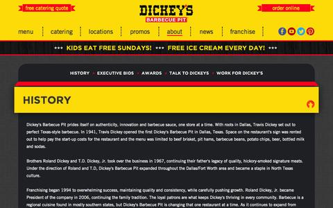 Screenshot of About Page dickeys.com - Dickey's Barbecue Pit - captured Sept. 19, 2014