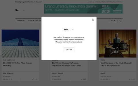 Screenshot of Home Page brandingmagazine.com - Branding Magazine   Narrating the Discussion - captured July 30, 2016