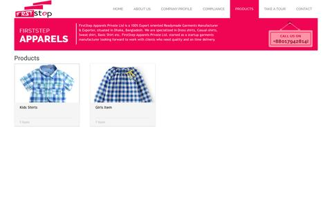 Screenshot of Products Page fsapparels.com - Products | FirstStep Apparels Private Limited - captured Oct. 6, 2014