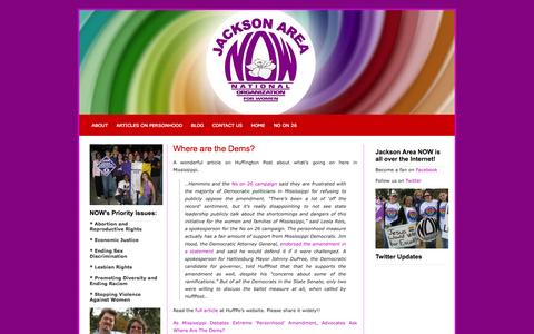 Screenshot of Blog nowms.org - Jackson Area National Organization for Women (NOW)   » Blog - captured Oct. 6, 2014