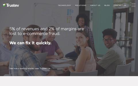Screenshot of Home Page trustev.com - Trustev | Increase e-commerce revenues, stop fraud - captured Dec. 2, 2015