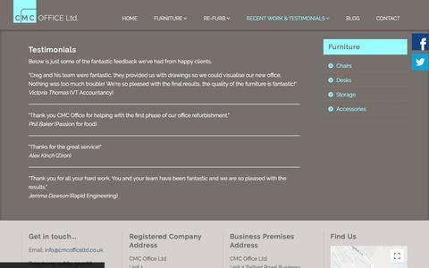 Screenshot of Testimonials Page cmcofficeltd.co.uk - Testimonials - captured Sept. 25, 2018