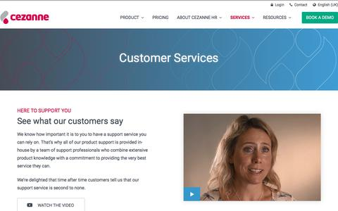 Screenshot of Services Page cezannehr.com - Service Overview | Software & Support | Cezanne HR - captured July 7, 2018