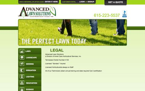 Screenshot of Terms Page advancedlawnsolutions.com - Legal | Advanced Lawn Solutions | Murfreesboro, Smyrna, Franklin, Brentwood, Nashville, and Lebanon Lawn, Grass, Tree & Shrub, Irrigation, and Outdoor Lighting - captured Sept. 30, 2014