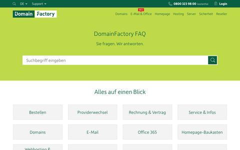 Screenshot of FAQ Page df.eu - FAQ - domainfactory GmbH - captured Aug. 19, 2016