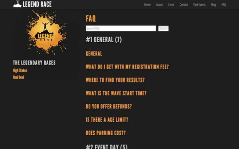 Screenshot of FAQ Page legendrace.com - FAQ - Legend Race - captured Sept. 29, 2014