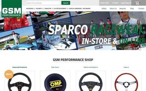 Screenshot of Home Page gsmotorsport.co.uk - GSM Performance - Race-wear, bucket seats, Motorsport safety equipment - captured Dec. 25, 2016