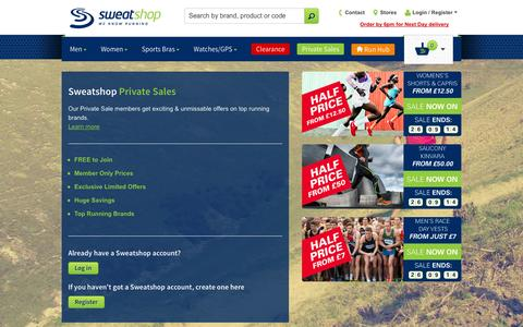 Screenshot of Login Page sweatshop.co.uk - Sweatshop - We know running - captured Sept. 23, 2014