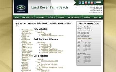 Screenshot of Site Map Page landroverpalmbeach.com - West Palm Beach, FL Land Rover Dealership | Land Rover Palm Beach | New Land Rover and Used Autos Dealer. - captured Sept. 29, 2014