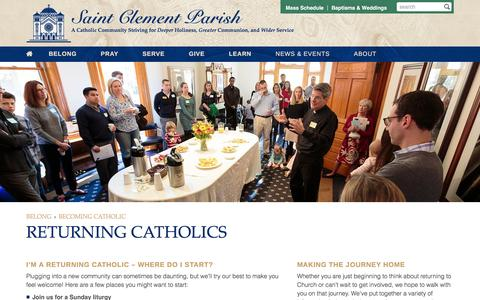 Screenshot of clement.org - Returning Catholics | Saint Clement Parish - captured March 20, 2016