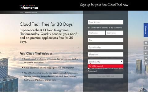 Screenshot of Trial Page informatica.com - Sign up for your free Cloud Trial now   Informatica US - captured March 20, 2016