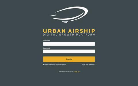 Screenshot of Login Page urbanairship.com - Urban Airship - Login - captured July 28, 2017