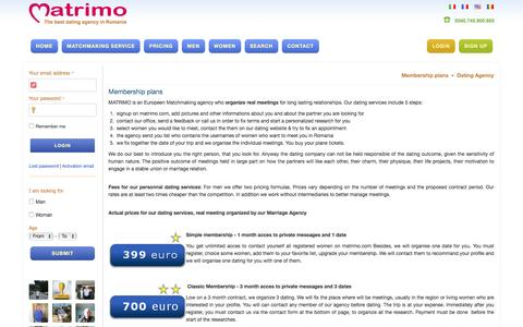 Screenshot of Pricing Page matrimo.com - Membership plans - Dating Agency - captured Dec. 19, 2015