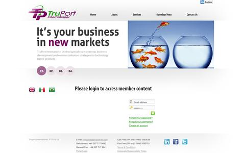 Screenshot of Login Page truport-int.com - Please login to access member content - captured Oct. 9, 2014
