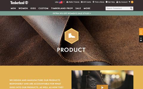 Screenshot of Products Page timberland.com - Product - Manufacture Responsibly   Timberland.com - captured Jan. 22, 2017