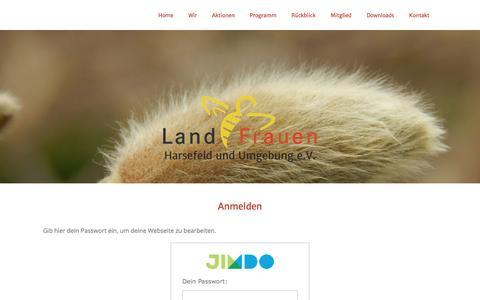 Screenshot of Login Page jimdo.com - Anmelden - LandFrauen-Harsefeld - captured June 9, 2016