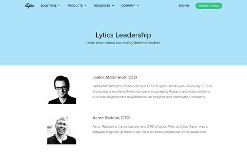 Screenshot of Team Page getlytics.com - Lytics Leadership - captured Dec. 7, 2017