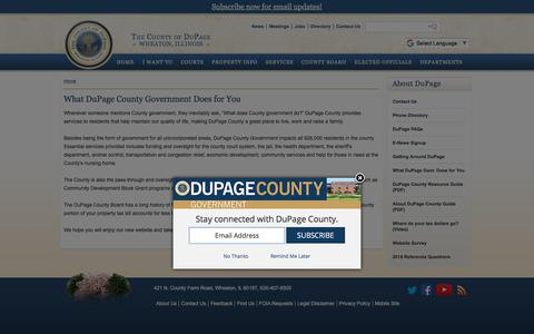 Screenshot of About Page dupageco.org - DuPage County IL – What DuPage County Government Does for You - captured Sept. 24, 2018