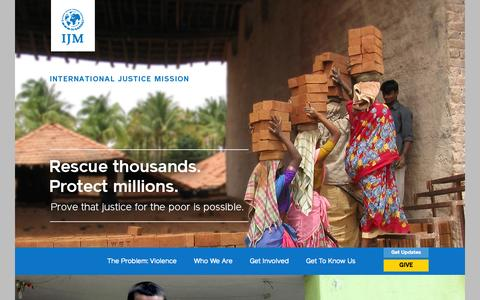 Screenshot of Home Page ijm.org - International Justice Mission | Rescue Thousands. Protect Millions. Prove that justice for the poor is possible. - captured Jan. 25, 2015