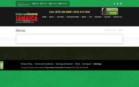 Screenshot of Site Map Page internetincomejamaica.com - Internet Income Jamaica |   Sitemap - captured Sept. 30, 2014