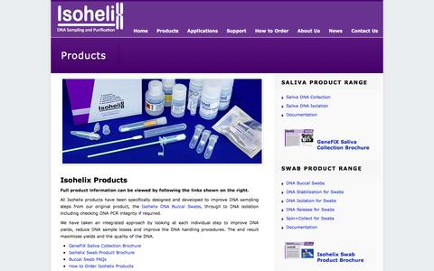 Screenshot of Products Page isohelix.com - Products - Isohelix Ltd - captured Jan. 22, 2016