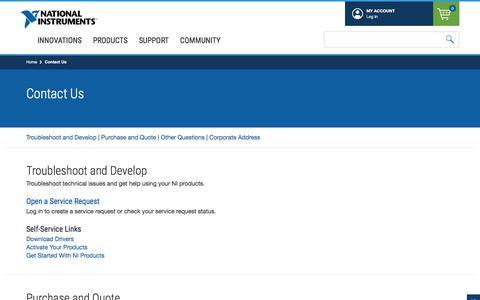 Screenshot of Contact Page ni.com - Contact Us - National Instruments - captured Jan. 23, 2020
