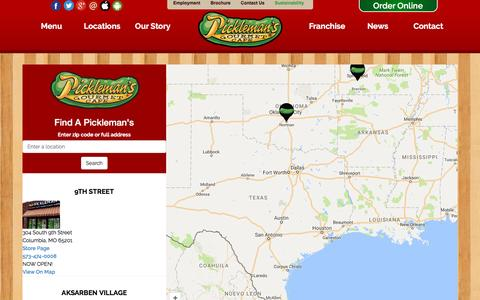 Screenshot of Locations Page picklemans.com - Sandwich Delivery | Picklemans Locations | Order Salads Online - captured Nov. 6, 2016