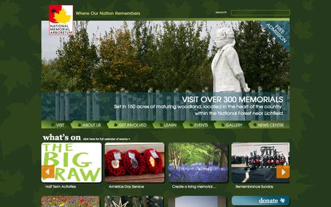 Screenshot of Home Page thenma.org.uk - Home | The National Memorial Arboretum - Where Our Nation Remembers - captured Oct. 6, 2014