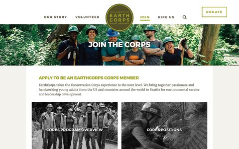 Screenshot of Signup Page earthcorps.org - Join The Corps - EarthCorps - captured May 14, 2017