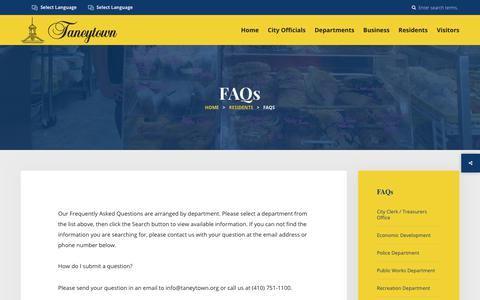 Screenshot of FAQ Page taneytown.org - Our Frequently Asked Questions are arranged by department - captured Aug. 1, 2017