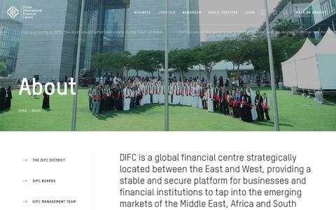 Screenshot of About Page difc.ae - About Us | Dubai International Financial Centre (DIFC) | difc.ae - captured Oct. 9, 2018