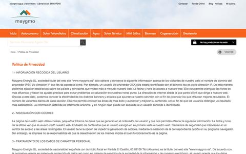Screenshot of Privacy Page maygmo.es - Politica de Privacidad - maygmo energia agua y renovables, fontanería, calefacción, energia solar térmica, energia solar fotovoltaica, geotermia, biomasa - captured Nov. 28, 2016