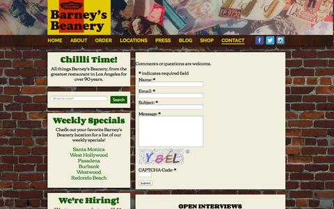 Screenshot of Contact Page barneysbeanery.com - Contact - Barney's Beanery - captured Sept. 30, 2014