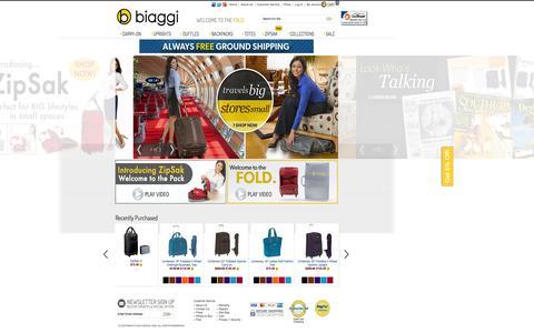 Screenshot of Home Page biaggi.com - Biaggi Luggage Sets & Travel Bags, Foldable, Lightweight, Spinner - captured Sept. 30, 2014