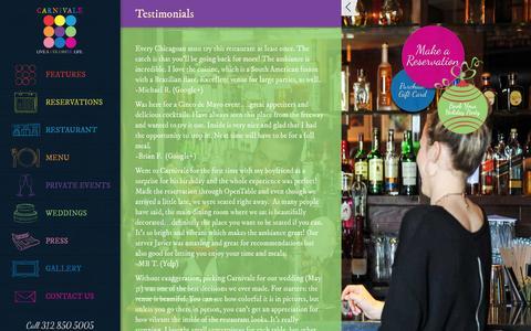 Screenshot of Testimonials Page carnivalechicago.com - Testimonials - Chicago West Loop Restaurant | Carnivale - captured Oct. 1, 2014