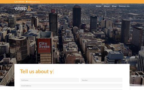 Screenshot of Contact Page wassp.co.za - Contact   Wassp.!, - captured Oct. 20, 2018