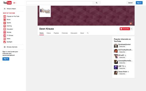 Screenshot of YouTube Page youtube.com - Dawn Krause  - YouTube - captured Oct. 29, 2014