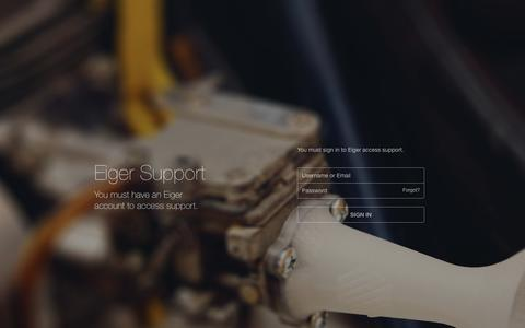 Screenshot of Support Page eiger.io - Eiger - captured June 9, 2016