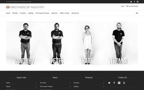 Screenshot of Team Page brothersofindustry.com - The Team - Brothers of Industry - captured Oct. 5, 2014