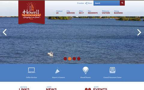 Screenshot of Home Page cityofhowell.org - Welcome to City of Howell, MI - captured July 21, 2015