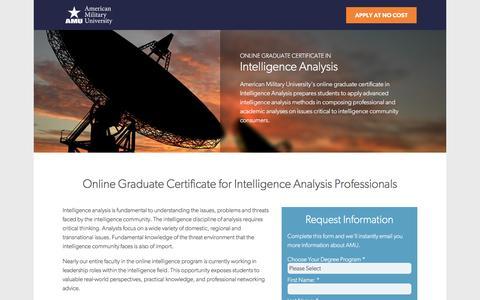 Screenshot of Landing Page apus.edu - Online Graduate Certificate in Intelligence Analysis | American Military University - captured June 21, 2016