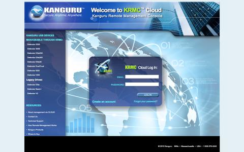 Screenshot of Login Page kanguru.com - Kanguru KRMC Cloud Login - captured Sept. 29, 2015