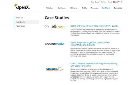 Screenshot of Case Studies Page openx.com - Case Studies: How Digital Media Companies Maximize Ad Revenue - captured June 17, 2015