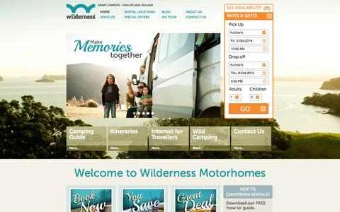 Screenshot of Home Page wilderness.co.nz - WILDERNESS MOTORHOMES NEW ZEALAND Motorhome and Campervan Hire NZ - captured Oct. 1, 2014