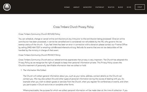 Screenshot of Terms Page crosstimberschurch.org - Legal — Cross Timbers Church - captured July 17, 2016